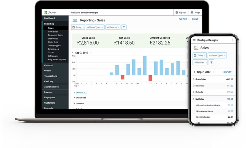 Clover dashboard on PC and phone